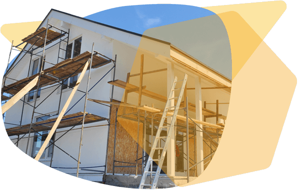 scaffolding overlooking a house repair